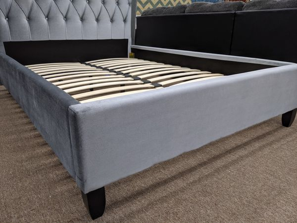 No credit needed gray queen size platform bed frame only.