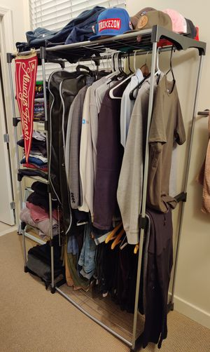 Freestanding Clothes Garment Organizer Closet, Silver for Sale in Los Angeles, CA
