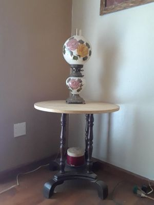 Gone with the wind hurricane lamp and marble antique table for Sale in Brooklyn, OH