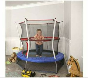Mini Trampoline with Enclosure Net Kids Jumper Indoor Outdoor Play Room Games Activity for Sale in Toms River, NJ