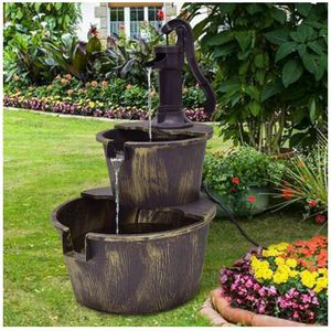 Outdoor 2 Tiers Waterfall Barrel Fountain with Pump for Sale in Brooklyn, NY