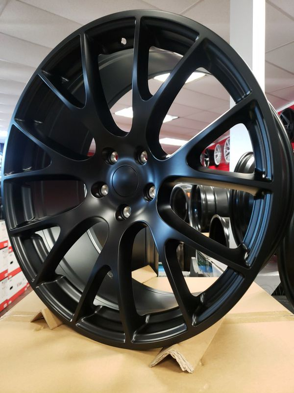 """22"""" 22x9.5 Wheels Hell Cat 5x127 +34 71.6cb Jeep Cherokee Dodge Durango Replica Matte Black Tires Available FINANCING Available."""