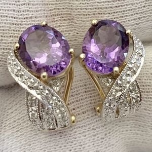 Gorgeous Vibtage 14K Yellow Gold Amethyst Diamonds Earrings for Sale in Beverly Hills, CA