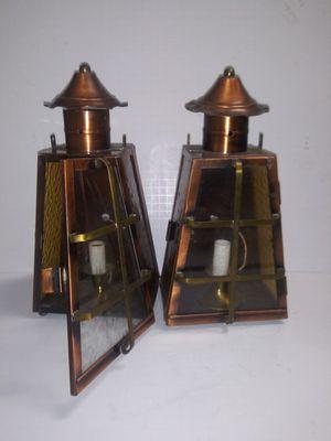 Antique vintafe copper lighting fixture lamp outdoor light for Sale in Bethlehem, PA
