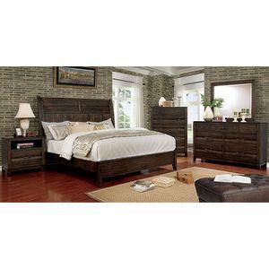 4-Pc Walnut Solid Wood Queen Bedroom Set for Sale in Fresno, CA
