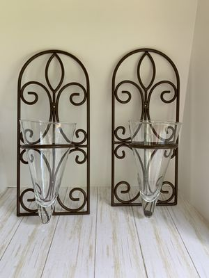 Metal Wall Grill Vases - Set of 2 for Sale in Dacula, GA