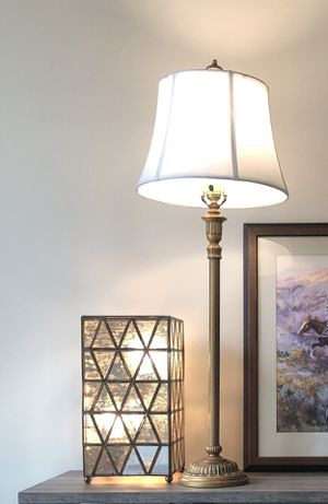 Tall Gold Lamp with White Shade for Sale in Houston, TX