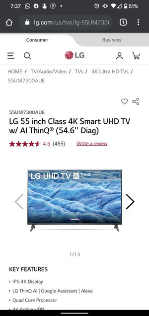 LG 55 inch 4k smart ultra hd tv with automatic hdr for Sale in Mountain View, CA