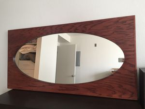 Oval Mirror on Rectangular Real Wood Frame (4' x 2') for Sale in Los Angeles, CA