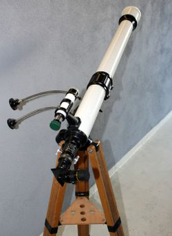 Vintage 80mm/1200mm refractor telescope with equatorial mount, tripod, eyepieces, accessories, case for Sale in Los Angeles,  CA