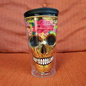 Gold Sugar Skull Travel Mug for Halloween Day of the Dead Cool Gear Insulated for Sale in Margate, FL