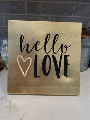 Hello Love Metallic Gold Canvas for Sale in Chula Vista, CA