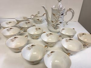 Mid century Vintage Lefton China Snack Plates and Tea Set -Hand Painted Wheat Pattern #2768 for Sale in Glenview, IL