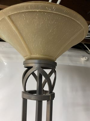 Heavy metal floor lamp with glass shade for Sale in West Chicago, IL