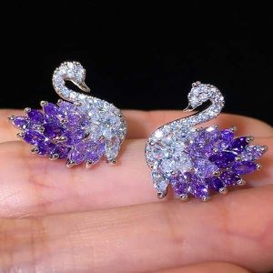 (FREE SHIPPING) Brand New Purple Amethyst Diamond Swan Earrings Woman's Jewelry Wedding Band for Sale in Milwaukee, WI