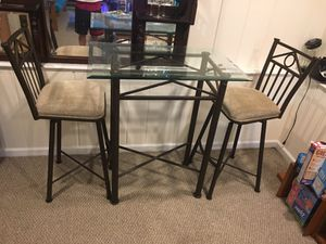 Glass table and stools for Sale in Arlington, VA