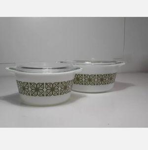 Pyrex Vintage Casserole Dish Set With Lids Autumn Floral Verde for Sale in West Sacramento, CA