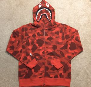 Bape shark hoodie red camo for Sale in Brooklyn, NY