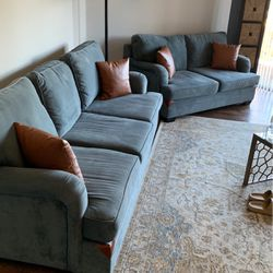 Leather and Microsuede Contrast Designer Sofa & Loveseat for Sale in Newport Beach,  CA
