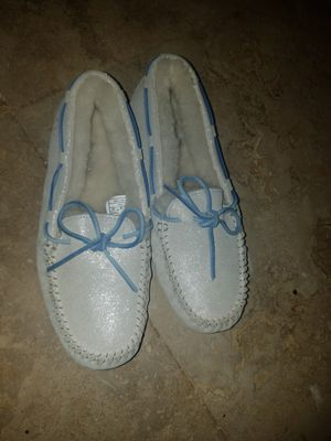 Uggs white and baby blue slip on shoes for Sale in Miami, FL