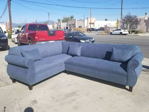NEW 7X9FT ANNAPOLIS STELL BLUE FABRIC SECTIONAL COUCHES for Sale in San Bernardino, CA