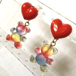 ❤️ Cute transparent rainbow teddy gummy bear hanging from red heart earrings - new for Sale in Carlsbad, CA