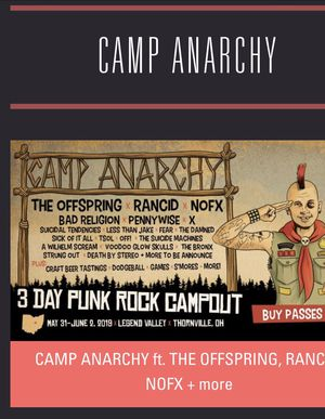 2 GA Weekend Passes - Camp Anarchy for Sale in South Zanesville, OH