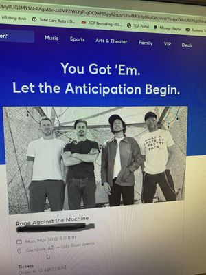 Rage against the machine tickets for Sale in Goodyear, AZ