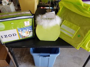 Lime green sheets, lamp, organizer for Sale in Elizabeth, PA