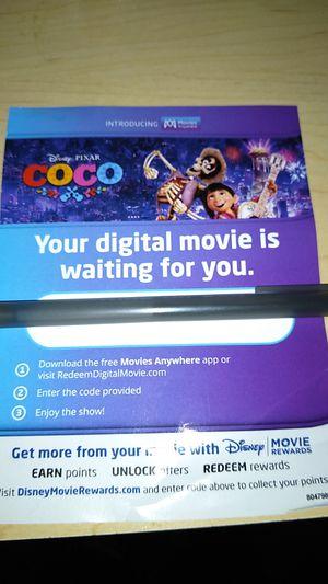 Coco Blu Ray digital code (movie, Disney) for Sale in Tracy, CA