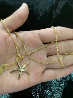 """14Kt solid gold starfish pendant with 14Kt gold rope chain 18"""" for Sale in Tulsa, OK"""