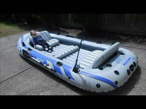 Intex Excursion 5 Person Inflatable Boat Oars And Pump Included for Sale in Orlando, FL