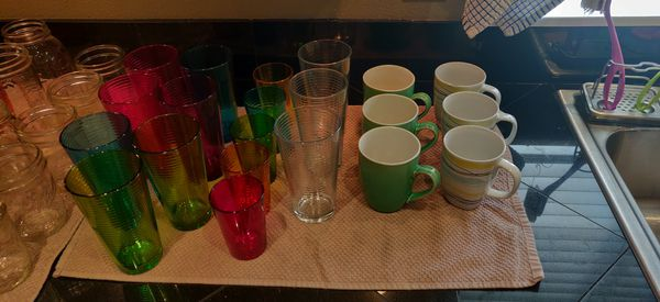 Glasses, coffee mugs, mason ball jars
