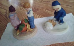 Hand Painted 1986 holiday Figurine Giving Thanks Each $5. Hand Painted 1986 holiday Figurine Winter Snow each$5 for Sale in Pawtucket, RI
