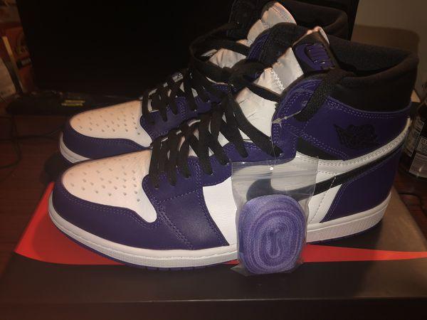 Jordan 1 retro high court purple white 12.5