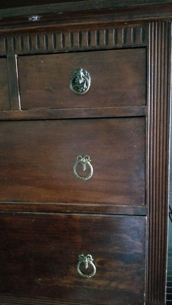 Beautiful solid antique dresser .