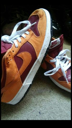 Nike dunks limited edition maroon and orange size 7 mens (size 9 woman) buyer must come to me $60 for Sale in Washington, DC