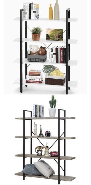 Ladder Shelf, 4-Tier Bookshelf Storage Rack, Living Room Bookcase, Stable Steel Frame, Bedroom, Office, Industrial Design.🌟Color: Grey&White for Sale in Temple City, CA
