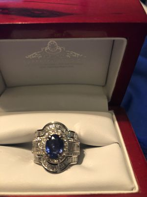 Blue sapphire custom engagement ring and wedding band. for Sale in Richmond, VA