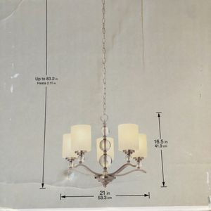 """5 Light Chandelier Brushed Nickel Finish 21"""" x 16.5"""" for Sale in Dallas, TX"""