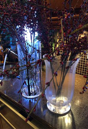 Two Decorative Glass Vases with Faux Plants for Sale in Linden, NJ