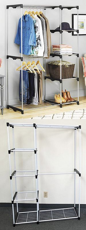 "$25 each New Double Rod Freestanding Closet Heavy Duty Storage Organizer, 45""x19""x68"" for Sale in Santa Fe Springs, CA"