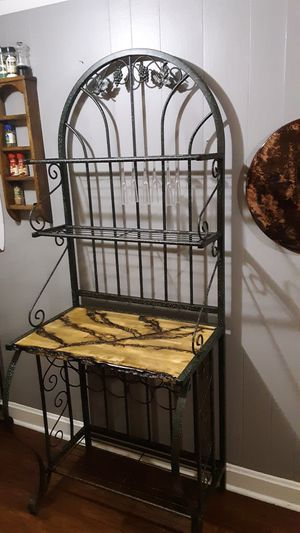 Bakers rack wine rack fractal wood burning for Sale in New Cumberland, PA