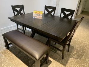 Kelly dining table with 4 chairs and bench, SAME DAY DELIVERY, LOWEST PRICES IN FLORIDA, only $599 for Sale in Clearwater, FL