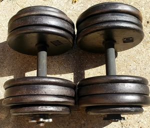 A PAIR OF 70 POUND ADJUSTABLE DUMBBELLS ( 140 POUNDS TOTAL) for Sale in Fort Worth, TX
