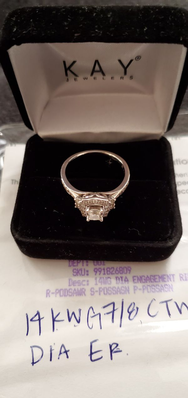 Kay Jewelers 14 k White Gold Engagement Ring Size 9 *Pickup Only*