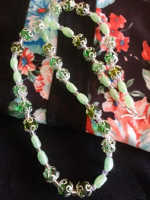 Fashion Jewelry / Soft green and silver with glass and crystal beads necklace / Silver Toggle clasp New Jewelry for Sale in Lincolnia, VA