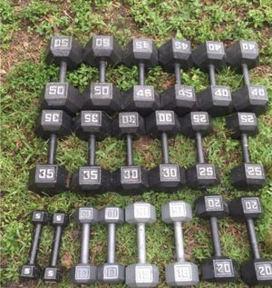 FULL SET OF HEX DUMBBELLS : 5s. 10s. 15s 20s. 25s. 30s. 35s. 40s 45s 50s for Sale in Coconut Creek, FL