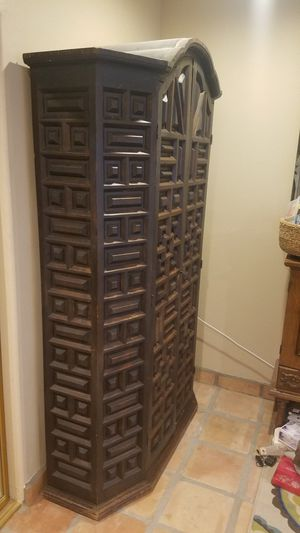 Rustic vintage spanish armoire wardrobe ent center. 83x52x17 for Sale in Palm Springs, CA