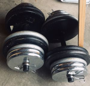 Dumbbell weights 140lb total adjustable 5-70lb each Home gym workout equipment for Sale in Mercer Island, WA